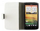 HTC One X Standlı Cüzdanlı Beyaz Deri Kılıf