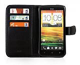HTC One X C�zdanl� Kapakl� Siyah Deri K�l�f