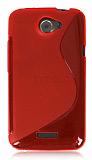 HTC One X Desenli �effaf K�rm�z� Silikon K�l�f