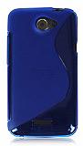 HTC One X Desenli �effaf Mavi Silikon K�l�f