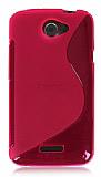 HTC One X Desenli �effaf Pembe Silikon K�l�f