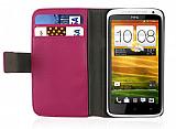HTC One X Standlı Cüzdanlı Pembe Deri Kılıf