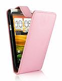 HTC One X Kapakl� Pembe Deri K�l�f