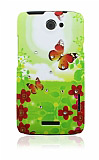 HTC One X Ta�l� Turuncu Kelebek Sert Mat Rubber K�l�f