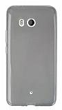 HTC U11 Ultra İnce Şeffaf Siyah Silikon Kılıf