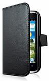 Huawei Ascend G301 C�zdanl� Yan Kapakl� Siyah Deri K�l�f
