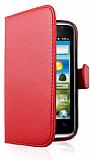 Huawei Ascend G301 C�zdanl� Yan Kapakl� K�rm�z� Deri K�l�f