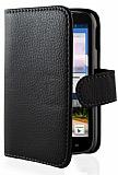 Huawei Ascend G610 C�zdanl� Yan Kapakl� Siyah Deri K�l�f