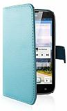 Huawei Ascend G610 C�zdanl� Yan Kapakl� Mavi Deri K�l�f