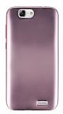 Huawei Ascend G7 Metalik Rose Gold Silikon Kılıf