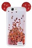 Huawei Ascend G7 Sulu Kırmızı Taşlı Kulaklı Kılıf