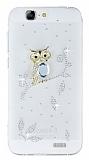 Huawei Ascend G7 Taşlı Baykuş Şeffaf Silikon Kılıf