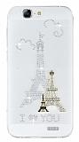 Huawei Ascend G7 Taşlı Paris Şeffaf Silikon Kılıf