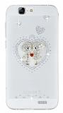 Huawei Ascend G7 Taşlı Love Şeffaf Silikon Kılıf