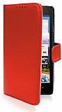 Huawei Ascend G700 Cüzdanlı Yan Kapaklı Kırmızı Deri Kılıf