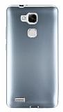 Huawei Ascend Mate 7 Metalik Silver Silikon Kılıf