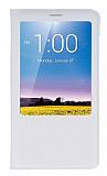 Huawei Ascend Mate 7 Pencereli İnce Kapaklı Beyaz Deri Kılıf