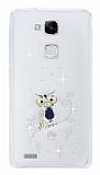 Huawei Ascend Mate 7 Taşlı Baykuş Şeffaf Silikon Kılıf