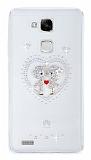 Huawei Ascend Mate 7 Taşlı Love Şeffaf Silikon Kılıf