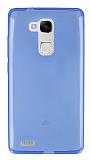 Eiroo Huawei Ascend Mate 7 Ultra İnce Şeffaf Mavi Silikon Kılıf