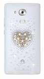 Huawei Ascend Mate 8 Taşlı Kalp Şeffaf Silikon Kılıf