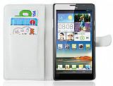 Huawei Ascend Mate C�zdanl� Beyaz Deri K�l�f