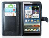 Huawei Ascend Mate C�zdanl� Siyah Deri K�l�f