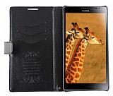 Huawei Ascend Mate Standl� C�zdanl� Siyah Deri K�l�f