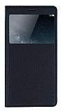 Huawei Ascend Mate S Pencereli İnce Kapaklı Siyah Kılıf