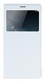Huawei Ascend Mate S Pencereli İnce Kapaklı Beyaz Kılıf