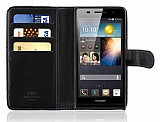 Huawei Ascend P6 Cüzdanlı Siyah Deri Kılıf