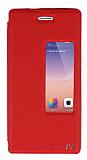 Eiroo Huawei Ascend P7 Vantuzlu Pencereli Kırmızı Deri Kılıf