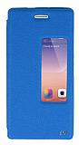 Eiroo Huawei Ascend P7 Vantuzlu Pencereli Mavi Deri Kılıf