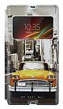 Eiroo Sony Xperia Z Gizli Mıknatıslı Pencereli Sarı Taksi Deri Kılıf