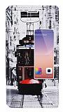 Huawei Ascend P7 Gizli Mıknatıslı Pencereli Taksim Deri Kılıf