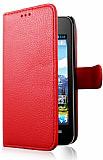 Huawei Ascend Y320 Cüzdanlı Yan Kapaklı Kırmızı Deri Kılıf