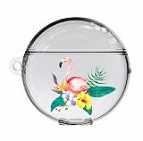 Huawei FreeBuds 3 Flower Flamingo Resimli Şeffaf Silikon Kılıf