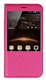 Huawei G8 Pencereli �nce Kapakl� Pembe K�l�f