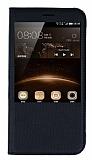 Huawei G8 Pencereli İnce Kapaklı Siyah Kılıf