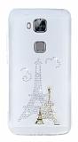 Huawei G8 Taşlı Paris Şeffaf Silikon Kılıf
