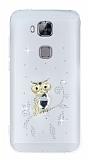 Huawei G8 Taşlı Baykuş Şeffaf Silikon Kılıf