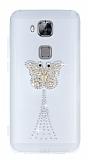 Huawei G8 Ta�l� Kelebek �effaf Silikon K�l�f