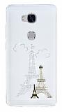 Huawei GR5 Taşlı Paris Şeffaf Silikon Kılıf