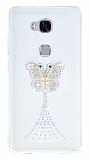 Huawei GR5 Taşlı Kelebek Şeffaf Silikon Kılıf