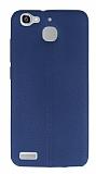 Huawei GR3 Deri Desenli Ultra İnce Lacivert Silikon Kılıf