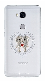 Huawei GR5 2017 Taşlı Love Şeffaf Silikon Kılıf