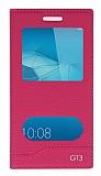 Huawei GT3 Gizli Mıknatıslı Pencereli Pembe Deri Kılıf