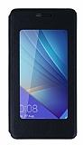 Huawei Honor 7 Pencereli İnce Kapaklı Siyah Kılıf