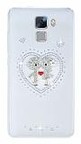 Huawei Honor 7 Taşlı Love Şeffaf Silikon Kılıf
