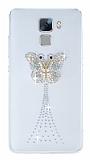 Huawei Honor 7 Taşlı Kelebek Şeffaf Silikon Kılıf